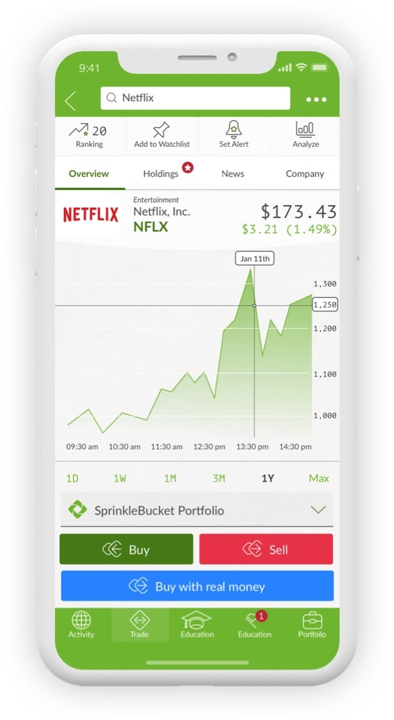 Iphone with stock-market game SprinkleBit interface